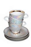 Tazas y platillos de té Fotos de archivo libres de regalías