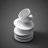 tazas y platillos que caen del ejemplo 3d Fotografía de archivo libre de regalías