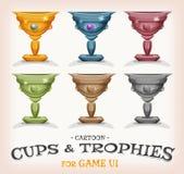 Tazas y trofeos de los ganadores para el juego UI stock de ilustración