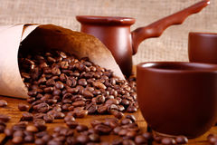 Tazas y utensilio de Coffe Imagen de archivo libre de regalías