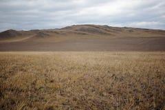 The Tazheranskaya steppe near the lake Baikal. Prairie land Baikal plateau in the Irkutsk region between the villages of Bandi and Elantsy 20 kilometers from the Royalty Free Stock Images
