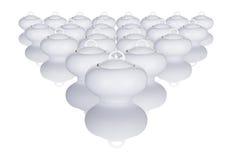 Tazones de fuente de azúcar blanco dispuestos en un modelo Imagen de archivo libre de regalías