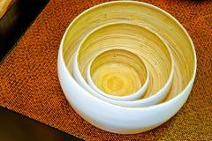 Tazones de fuente de bambú foto de archivo libre de regalías