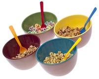 Tazones de fuente de cereal de desayuno Foto de archivo libre de regalías