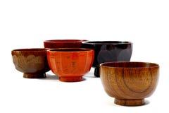 Tazones de fuente de sopa japoneses de madera Imagen de archivo libre de regalías