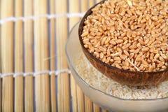 Tazones de fuente del trigo y de arroz Fotografía de archivo