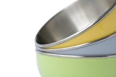 Tazones de fuente en colores pastel Imagenes de archivo