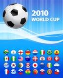 Tazza 2010 di mondo di calcio con i tasti della bandierina Fotografia Stock