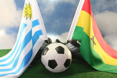 Tazza 2010 di mondo, l'Uruguai ed il Ghana Fotografia Stock Libera da Diritti