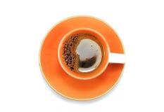Tazza arancio di caffè espresso Fotografia Stock