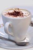 Tazza bianca con cappuccino Immagine Stock