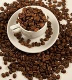 Tazza bianca della porcellana con i chicchi di caffè arrostiti immagine stock libera da diritti
