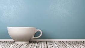 Tazza bianca della prima colazione della porcellana nella stanza royalty illustrazione gratis
