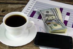 Tazza bianca di caffè nero, dei grafici, del telefono e dei dollari Fotografia Stock Libera da Diritti