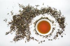 Tazza bianca di tè con la foglia di tè secca sui precedenti bianchi Immagini Stock Libere da Diritti