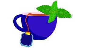 Tazza blu con tè e la menta Fotografia Stock