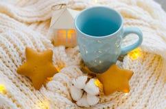 Tazza blu con un fiore del cotone Immagine Stock