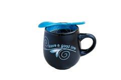 Tazza blu del tè Fotografia Stock