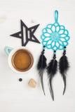 Tazza blu di caffè nero Fotografia Stock Libera da Diritti
