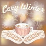 Tazza calda del cacao e guanti tricottati su fondo vago con gli scintilli illustrazione di stock