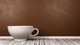 Tazza ceramica bianca della prima colazione nella stanza illustrazione di stock
