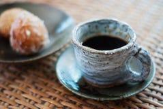 Tazza ceramica di caffè nero Fotografia Stock Libera da Diritti
