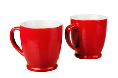 Tazza ceramica rossa due Immagine Stock Libera da Diritti