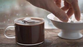 Tazza con cacao e la caramella gommosa e molle, ciotola ceramica con la caramella gommosa e molle sul davanzale video d archivio