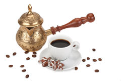 Tazza con caffè e la caffettiera Immagine Stock Libera da Diritti