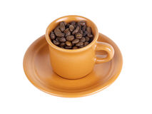 Tazza con i chicchi di caffè fotografia stock