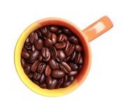 Tazza con i chicchi di caffè arrostiti Fotografie Stock