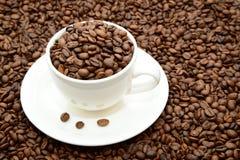 Tazza con i chicchi di caffè su un piattino Immagini Stock Libere da Diritti
