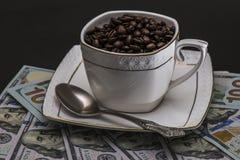 Tazza con i chicchi di caffè sui precedenti dei dollari americani Fotografie Stock Libere da Diritti