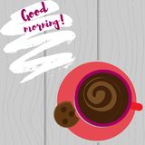 Tazza con la vista superiore del caffè su un fondo bianco Ma primo caffè Fotografia Stock