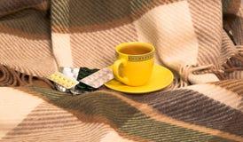 Tazza con tè e droghe su un plaid di lana a quadretti Fotografia Stock