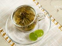Tazza con tè verde Fotografia Stock