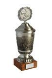 Tazza d'argento del trofeo isolata su fondo bianco Fotografia Stock