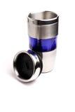 Tazza da caffè del termos isolata su bianco Fotografia Stock Libera da Diritti