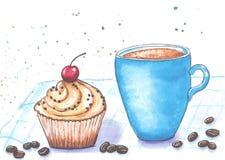 Tazza da caffè e dolce blu su un tovagliolo a quadretti dipinto con gli acquerelli su un fondo bianco Immagine Stock Libera da Diritti