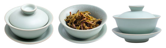 Tazza da the cinese della zuppiera di Ru con oolong Fotografia Stock