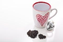Tazza dei biglietti di S. Valentino di tè Fotografia Stock Libera da Diritti