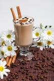 Tazza dei cappuccini con il innamon del ½ del ¿ del ï ed i fiori bianchi Fotografia Stock Libera da Diritti