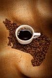 Tazza dei chicchi di caffè e di espressso immagini stock libere da diritti