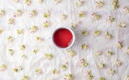 Tazza dei fiori del fiore della castagna e del tè Immagini Stock Libere da Diritti