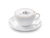 Tazza del caffè caldo del cappuccino isolato su fondo bianco Immagini Stock