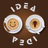 Tazza del cappuccino con l'idea di parole Fotografia Stock