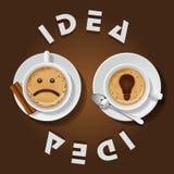 Tazza del cappuccino con l'idea di parole Immagini Stock