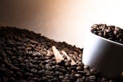 Tazza del cofee con cannella nel colore marrone Immagini Stock Libere da Diritti