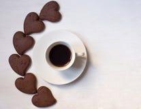 Tazza del cofee con i biscotti del cioccolato Fotografia Stock