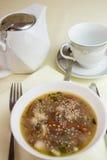 Tazza del piatto di minestra del tè Fotografie Stock